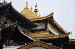 Golden brick temple. The great golden brick temple is one of the famous buildings in Kumbum Monastery (Ta er temple) in Qinghai, China. The bricks are made of Royalty Free Stock Image