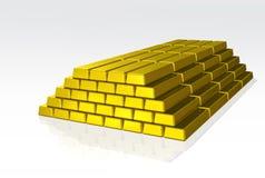 Golden bricks. Isolated pile of golden bricks on white background royalty free illustration