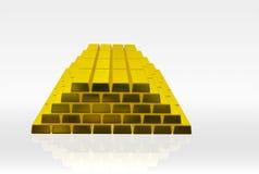 Golden bricks. Isolated pile of golden bricks on white background stock illustration
