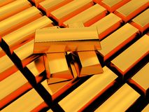 Golden bricks Stock Images