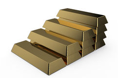 Golden bricks ledder. Set of gold bricks isolated on white background Stock Images