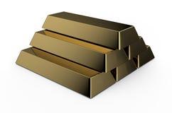 Golden bricks. Set of gold bricks isolated on white background Royalty Free Stock Photography