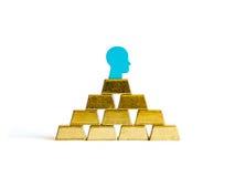 Golden bricks: wealth conceptualisation. With tokens Stock Photos