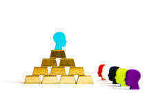 Golden bricks: wealth inequality conceptualisation isolated. With tokens Stock Image