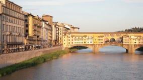Golden Bridge across Arno river, Florence stock video