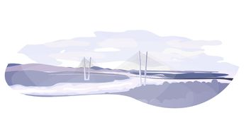 Golden Bridge - cable-stayed bridge across the Golden Horn Bay in Vladivostok stock illustration