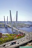 Golden bridge over Zolotoy Rog Bay. Vladivostok. Russia stock photos