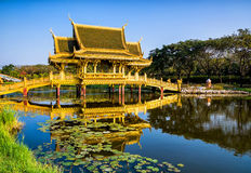 Golden Bridge and Pavilion of the Enlightened. Ancient City Park, Thailand. Amazing view of beautiful Golden Bridge and Pavilion of the Enlightened with Royalty Free Stock Image
