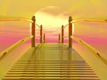 Golden bridge to sun - 3D render Royalty Free Stock Images