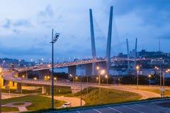 Golden Bridge, Vladivostok, Russia. Golden Bridge over Golden Horn Bay Stock Photo