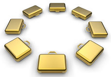 Golden briefcases. 3D render illustration of multiple golden briefcases arranged in a circular array. The composition is isolated on a white background with Royalty Free Stock Photography