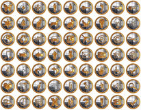 Golden Bright Icons Suite Stock Photography