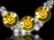 Golden Bright Jewel Hearts Stock Photos