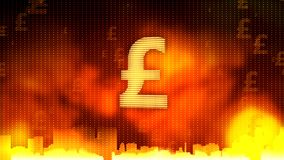 Golden British pound sign against fiery background, the most stable currency. Stock footage royalty free stock photography