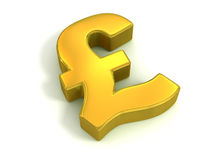 Golden British pound symbol Stock Photography