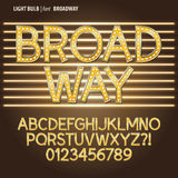 Golden Broadway Light Bulb Alphabet and Digit Vect vector illustration