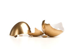 Golden Broken Egg Stock Images