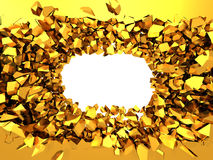 Golden broken wall with explosion hole. Abstract background Stock Image