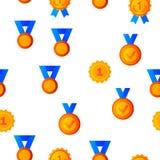 Golden, Bronze Medals Vector Seamless Pattern vector illustration