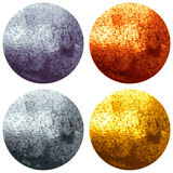 Golden, Bronze, Silver and Metal Circles. Golden, Bronze, Silver and Metal Bright Glowing Circles isolated on white Background. Vector Illustration Stock Image