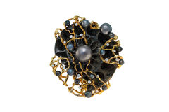 Golden brooch with pearls and diamonds Stock Images