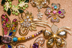 Golden Brooches Set Royalty Free Stock Photos