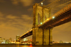 Golden Brooklyn Bridge in New York City Royalty Free Stock Photography