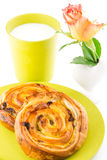 Golden brown baked pastry, milk and flower Stock Images