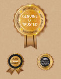 Golden brown genuine qulity badge Stock Photo