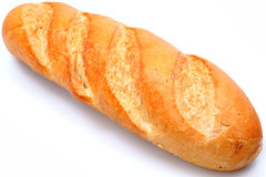 Golden Brown Loaf of French Baguette Bread. Over white Royalty Free Stock Photos