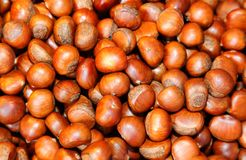 Golden brown roasted chestnuts on top view Stock Image
