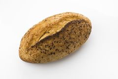 Golden Brown Sourdough Bread  on White Background Shot in Studio From Directly Above. Sourdough bread is made by the fermentation of dough using naturally Stock Photos