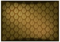 Golden Brown Thai Vintage Wallpaper Background with Foral Pattern Stock Photos