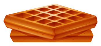 Golden brown waffles on white Royalty Free Stock Images