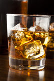 Golden Brown Whisky on the rocks Stock Photography