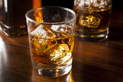 Golden Brown Whisky on the rocks Stock Photos