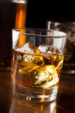 Golden Brown Whisky on the rocks Stock Photo