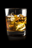 Golden Brown Whisky on the rocks Royalty Free Stock Photo