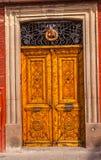 Golden Brown Wooden Door San Miguel de Allende Mexico Royalty Free Stock Photography