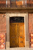 Golden Brown Wooden Door San Miguel Mexico Royalty Free Stock Photography