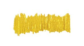 Golden brush smear spot. Vector stripe of golden brush smear spot in vertical direction. Abstract gold shiny textured art illustration isolated on white. Good stock illustration