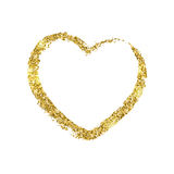 Golden brushstroke in the form of heart. Glitter shiny texture. Stock Images