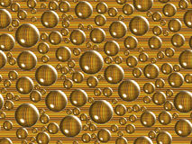 Golden bubbles and background. Golden bubbles on brown lines background. Christmas background and texture Stock Illustration