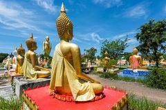 Golden Budddha statue at Wat Phai Rong Wua. Many golden Budddha statues against blue sky at Wat Phai Rong Wua, Suphanburi, Thailand royalty free stock photography