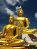 Golden Buddha. Big golden Buddha with blur sky at Angthong, Thailand Stock Photography
