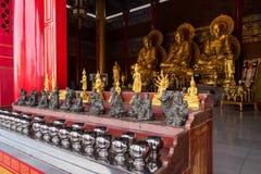 The Golden Buddha Chinese style at Wat Borom Raja Kanjanapisek W Royalty Free Stock Photos