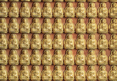 10000 Golden Buddha In Chinese Temple. 10000 Golden Buddha decorate on the wall in Chinese temple stock image