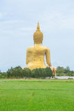 Golden Buddha in countryside. Large Buddha statue at Wat Muang in Angthong Royalty Free Stock Images