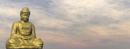 Golden Buddha - 3D render. Golden buddha meditating in cloudy sky - 3D render stock illustration