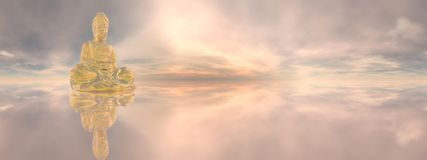 Golden buddha, 360 degrees effect - 3D render Royalty Free Stock Image